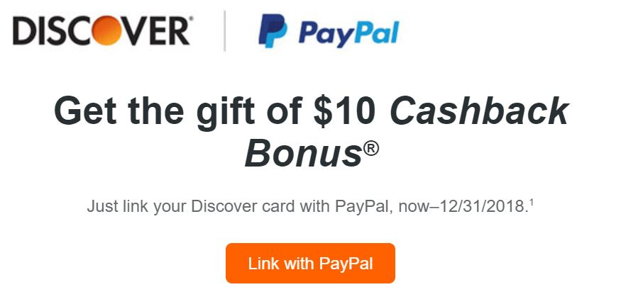 Link Discover Card with PayPal, Get $10 Bonus (Targeted)